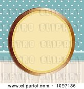 Vector Clip Art of Retro Gold Circular Frame on Blue Polka Dots and Stripes by Elaineitalia