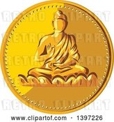 Vector Clip Art of Retro Gold Coin Medallion of Buddha by Patrimonio