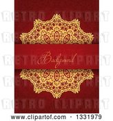 Vector Clip Art of Retro Gold Doily and Decorative Background Text Bar over a Pattern by KJ Pargeter