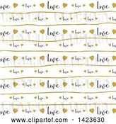 Vector Clip Art of Retro Gold Heart, Line and Love Text Pattern by KJ Pargeter