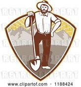 Vector Clip Art of Retro Gold Miner Guy Standing with a Shovel in a Mountain and Sunshine Shield by Patrimonio