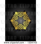Vector Clip Art of Retro Gold Snowflake Design on Gradient Black by KJ Pargeter