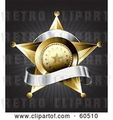 Vector Clip Art of Retro Gold Star Police Badge Draped by a Blank Silver Banner on a Bursting Gray Background by TA Images