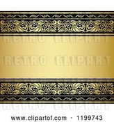 Vector Clip Art of Retro Golden Background with Ornate Borders and Text Space by Vector Tradition SM