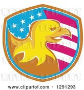 Vector Clip Art of Retro Golden Bald Eagle Head in an American Flag Shield with Brown White and Blue Trim by Patrimonio