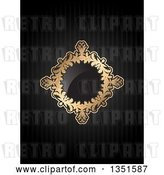 Vector Clip Art of Retro Golden Floral Diamond Frame with a Shiny Center over Black Stripes by KJ Pargeter