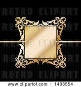 Vector Clip Art of Retro Golden Floral Frame on Black by KJ Pargeter