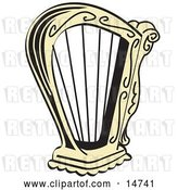 Vector Clip Art of Retro Golden Harp Instrument over a White Background by Andy Nortnik