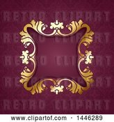 Vector Clip Art of Retro Golden Ornate Floral Frame over Damask by KJ Pargeter