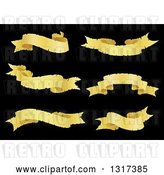 Vector Clip Art of Retro Golden Ribbon Banners on Black by Vector Tradition SM