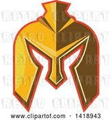 Vector Clip Art of Retro Golden Spartan Helmet with a Red Outline by Patrimonio