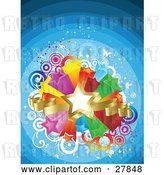 Vector Clip Art of Retro Golden Star and Ribbons over a Bursting Island of Yellow, Purple, Orange, Red, Green and Blue Stars over a Gradient Blue Background of Circles and Butterflies by KJ Pargeter