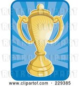 Vector Clip Art of Retro Golden Trophy over Blue Rays by Patrimonio