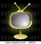Vector Clip Art of Retro Golden Tv on a Stand by MilsiArt