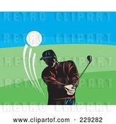 Vector Clip Art of Retro Golfer Guy Swinging by Patrimonio