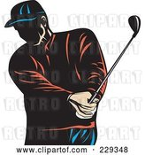 Vector Clip Art of Retro Golfer Swinging by Patrimonio