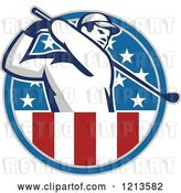 Vector Clip Art of Retro Golfer Swinging in an American Stars and Stripes Circle by Patrimonio