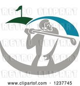 Vector Clip Art of Retro Golfer Swinging on a Course by Patrimonio