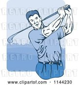 Vector Clip Art of Retro Golfing Guy Swinging 1 by Patrimonio