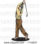 Vector Clip Art of Retro Golfing Guy Swinging 2 by Patrimonio
