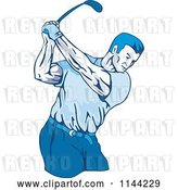 Vector Clip Art of Retro Golfing Guy Swinging 3 by Patrimonio