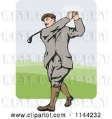 Vector Clip Art of Retro Golfing Guy Swinging 4 by Patrimonio