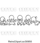Vector Clip Art of Retro Goops KChildren in Different Poses by Prawny Vintage