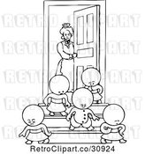Vector Clip Art of Retro Goops KChildren Leaving a House by Prawny Vintage
