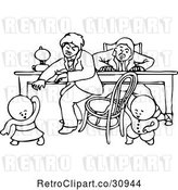 Vector Clip Art of Retro Goops KChildren Pulling a Chair out from Under a Guy by Prawny Vintage