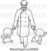 Vector Clip Art of Retro Goops KChildren Walking with a Guy by Prawny Vintage