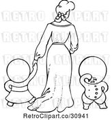 Vector Clip Art of Retro Goops KChildren with a Lady by Prawny Vintage