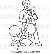 Vector Clip Art of Retro Goops KChildren Writing with a Guy by Prawny Vintage