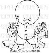 Vector Clip Art of Retro Goops Kid Attacking Adults by Prawny Vintage