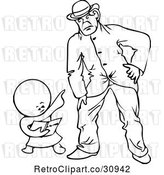 Vector Clip Art of Retro Goops Kid Pointing at a Guy by Prawny Vintage