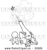 Vector Clip Art of Retro Goops Kid Shooting Someone from a Cannon by Prawny Vintage