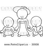Vector Clip Art of Retro Goops Kids Holding Hands by Prawny Vintage