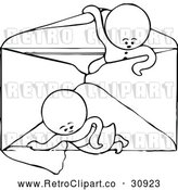 Vector Clip Art of Retro Goops Kids in an Envelope by Prawny Vintage