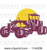 Vector Clip Art of Retro Grader Machine and Yellow Circle by Patrimonio