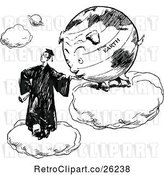 Vector Clip Art of Retro Graduate and Earth Eating out of His Hand by Prawny Vintage