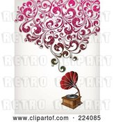 Vector Clip Art of Retro Grammophone with Floral Sound by OnFocusMedia
