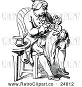 Vector Clip Art of Retro Grandfather and Baby by Prawny Vintage