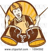 Vector Clip Art of Retro Granny Rocking out with Drums over Rays by Patrimonio