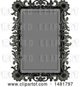 Vector Clip Art of Retro Gray and Black Floral Frame by Pushkin