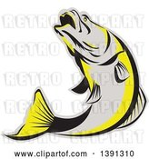 Vector Clip Art of Retro Gray Black and Yellow Barramundi Asian Sea Bass Fish Jumping by Patrimonio