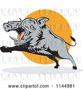 Vector Clip Art of Retro Gray Boar Leaping by Patrimonio