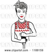 Vector Clip Art of Retro Gray Haired Housewife or Maid Lady Grinding Fresh Pepper 2 by Andy Nortnik