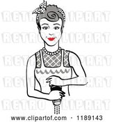 Vector Clip Art of Retro Gray Haired Housewife or Maid Lady Grinding Fresh Pepper by Andy Nortnik