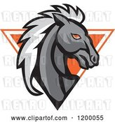 Vector Clip Art of Retro Gray Horse Head over an Orange Triangle by Patrimonio