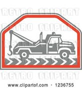 Vector Clip Art of Retro Gray Tow Truck in a Red Hexagon by Patrimonio