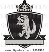 Vector Clip Art of Retro Grayscale Alligator or Crocodile Coat of Arms Shield with a Crown and Blank Banner by Patrimonio